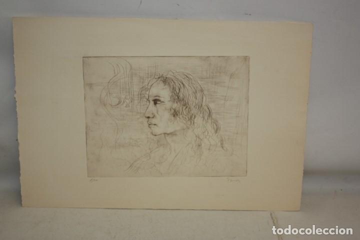 FIRMADO FERRER. GRABADO CON TIRAJE 1/20. RETRATO DE PERFIL (Arte - Grabados - Contemporáneos siglo XX)