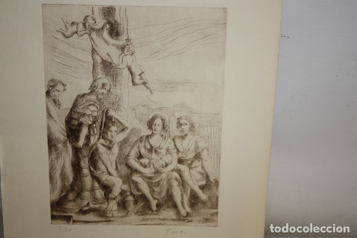 FIRMADO FERRER. GRABADO CON TIRAJE 7/20. PERSONAJES (Arte - Grabados - Contemporáneos siglo XX)