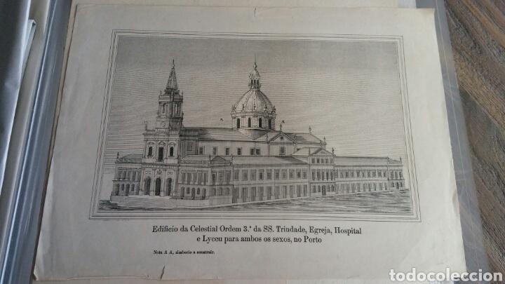 GRABADO ESPECIAL CON CÚPULA QUE NUNCA SE CONSTRUYÓ - IGREJA, HOSPITAL Y ESCUELA TRINDADE - PORTO (Arte - Grabados - Antiguos hasta el siglo XVIII)