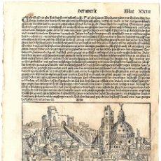 Arte: 1493 GRABADO HOJA ORIGINAL INCUNABLE LIBER CHRONICARUM CRONICAS DE NUREMBERG, SCHEDEL. Lote 180262620