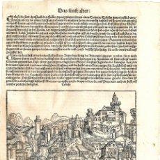 Arte: 1493 GRABADO HOJA ORIGINAL INCUNABLE LIBER CHRONICARUM CRONICAS DE NUREMBERG, SCHEDEL. Lote 180278238