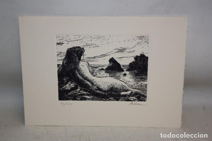 MARC ALEU. GRABADO CON TIRAJE 3/30. DESNUDO FEMENINO (Arte - Grabados - Contemporáneos siglo XX)