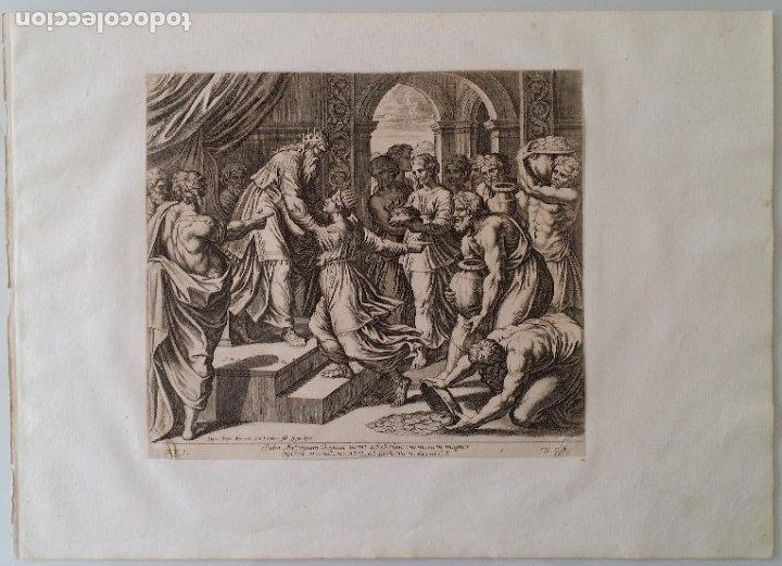 Arte: RAFAEL / CHAPERON: La reina de Saba, grabado de 1649 - Foto 2 - 180337960
