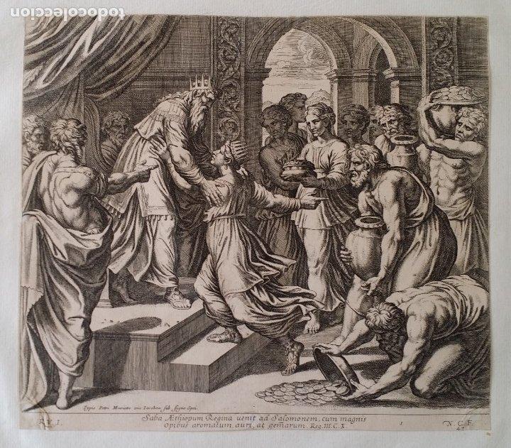 RAFAEL / CHAPERON: LA REINA DE SABA, GRABADO DE 1649 (Arte - Grabados - Antiguos hasta el siglo XVIII)