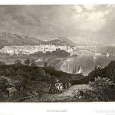 Arte: 1844 - BARCELONA - BARNA CIUDAD Y PUERTO CATALUÑA CATALUNYA - XILOGRAFIA ORIGINAL DE EPOCA. Lote 180480158