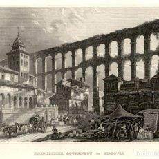 Arte: 1844 - SEGOVIA - ACUEDUCTO ROMANO - XILOGRAFIA ORIGINAL DE EPOCA. Lote 180480510