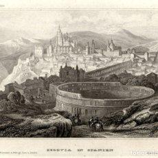 Arte: 1844 - SEGOVIA - PLAZA DE TOROS Y CIUDAD GRABADOR VERLEGER - XILOGRAFIA ORIGINAL DE EPOCA. Lote 180480712