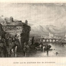 Arte: 1837 - IRUN - PUENTE SOBRE EL BIDASOA - EIGENTHUM DER VERLEGER - XILOGRAFIA ORIGINAL DE EPOCA. Lote 180482516