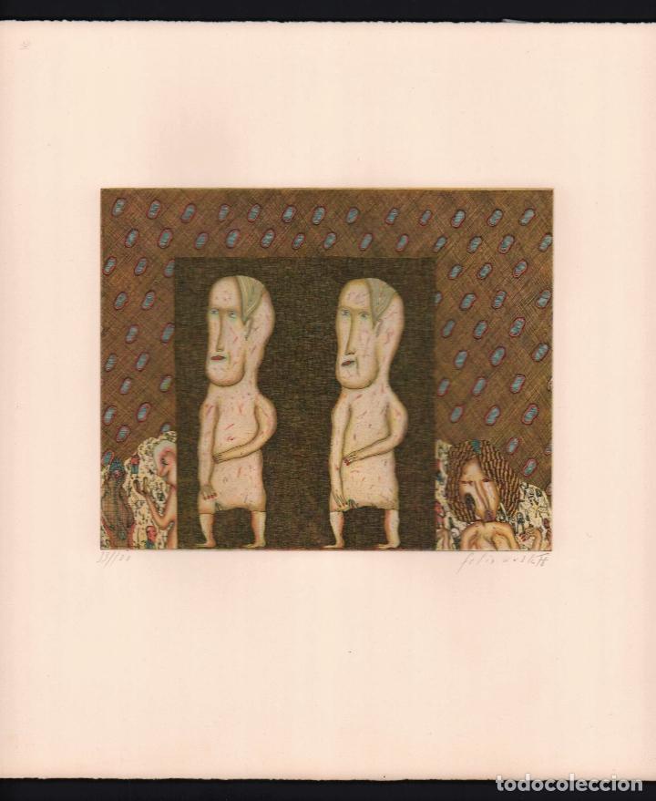 FELIX WASKE ESCENA ERÓTICA 10 GRABADO ORIGINAL FIRMADO FECHADO 78 NUMERADO LÁPIZ 33/100 ED BRUGBERG (Arte - Grabados - Contemporáneos siglo XX)