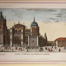 Arte: GRABADO CALCOGRAFICO COLOREADO IGLESIA CATEDRAL DE TOLEDO. SIGLO XVIII. Lote 180846652