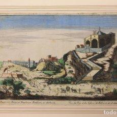 Arte: GRABADO COLOREADO IGLESIAS DE BELEN Y S. AMAT. VUE DU PORT, ET DES EGLISES DE BELLEN ET DE S. AMAT. Lote 180929497