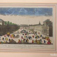 Arte: GRABADO COLOREADO VUE SEPTENTRIONALE DE LA GRANDE PLACE DITE DE LA CARRIERE Á NANCY. FRANCIA. Lote 180929723