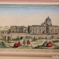 Art: GRABADO COLOREADO ROMA. BASILICA SAN PEDRO. VATICANO. SIGLO XVIII. Lote 180930513