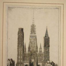 Arte: GRABADO CALCOGRAFICO CATEDRAL DE NOTRE DAME DE ROUEN. FRANCIA. SIGLO XVIII. Lote 180930690