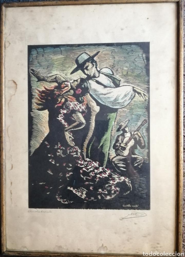 Arte: Juan Castells Marti. Woodcut titulado Andalusian Dancers. Obra de años 40. - Foto 2 - 180994896