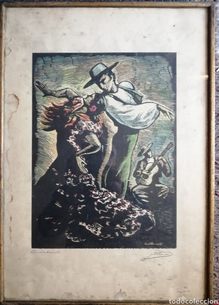Arte: Juan Castells Marti. Woodcut titulado Andalusian Dancers. Obra de años 40. - Foto 3 - 180994896