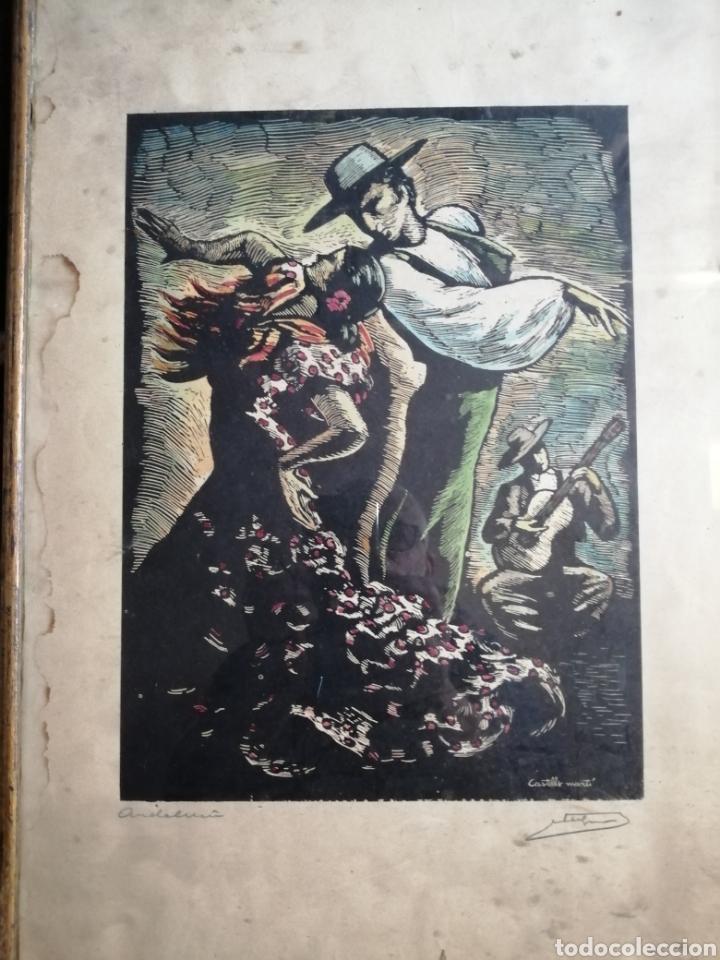 Arte: Juan Castells Marti. Woodcut titulado Andalusian Dancers. Obra de años 40. - Foto 4 - 180994896