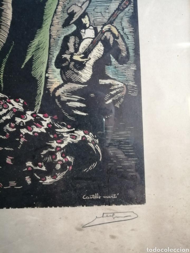 Arte: Juan Castells Marti. Woodcut titulado Andalusian Dancers. Obra de años 40. - Foto 5 - 180994896