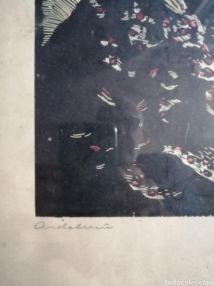 Arte: Juan Castells Marti. Woodcut titulado Andalusian Dancers. Obra de años 40. - Foto 6 - 180994896