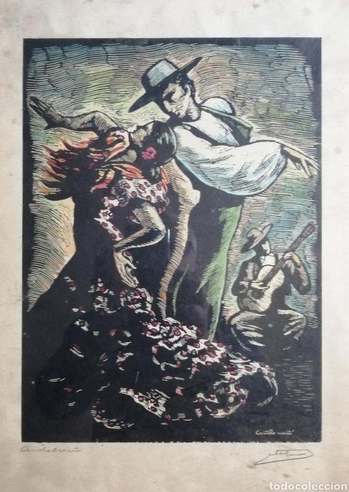 JUAN CASTELLS MARTI. WOODCUT TITULADO ANDALUSIAN DANCERS. OBRA DE AÑOS 40. (Arte - Grabados - Contemporáneos siglo XX)