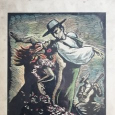 Arte: JUAN CASTELLS MARTI. WOODCUT TITULADO ANDALUSIAN DANCERS. OBRA DE AÑOS 40.. Lote 180994896