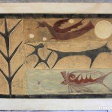 Arte: RAMON FERRAN PAGÈS (1927 - 2015), GRABADO, 1968, ANIMALES, FIRMADO. 98X67CM. Lote 181013112