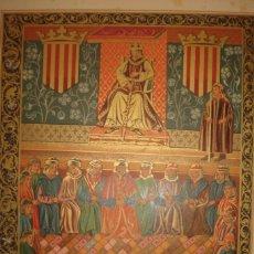Arte: GRABADO DON JAIME I PRESIDIENDO LAS CORTES DE LÉRIDA, ORIGINAL, 1879, BARCELONA,PUJADAS.. Lote 181182357