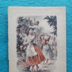 Arte: GRABADO ANTIGUO. VALENCIA. RECOLECCIÓN DE LA NARANJA. FIRMADO.. Lote 181334892