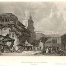 Arte: 1838 VITORIA - GASTEIZ - ALAVA - PLAZA DEL MERCADO - GRABADO ALEMAN SOBRE COBRE ORIGINAL DE EPOCA. Lote 181357917