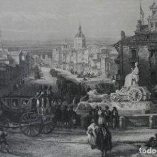 Arte: ANTIGUO GRABADO INGLES S. XIX: CALLE DE ALCALA MADRID - DAVID ROBERTS – J. T. WILMORE. Lote 181405326