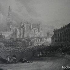 Arte: ANTIGUO GRABADO INGLES S. XIX: CORRIDA PLAZA DE TOROS DE SEVILLA - DAVID ROBERTS – ALLEN. Lote 181433755