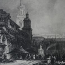 Arte: ANTIGUO GRABADO INGLES S. XIX: LA GRAN PLAZA EN VITORIA - DAVID ROBERTS – H. ADLARD. Lote 181434062
