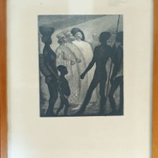 Arte: ESCENA TRIBAL AFRICANA. GRABADO SOBRE PAPEL. FRANCESC DOMINGO. SIGLO XX.. Lote 181450976