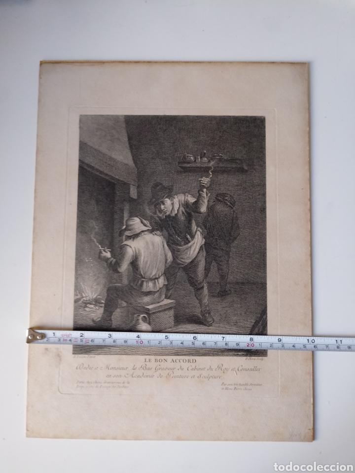 ANTIGUO GRABADO AL AGUAFUERTE. SXVIII (ADHERIDO A UN CARTÓN) (Arte - Grabados - Antiguos hasta el siglo XVIII)