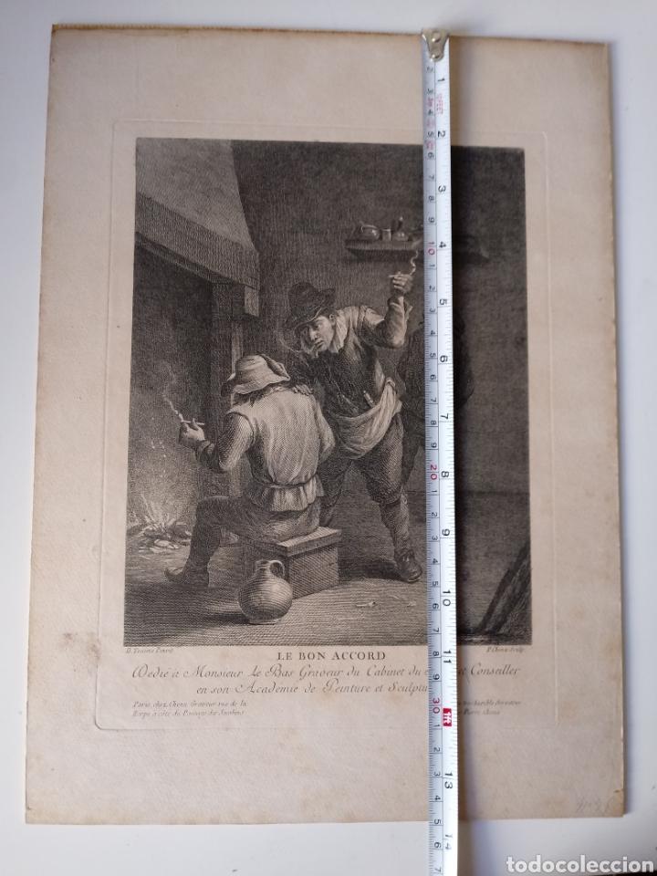 Arte: Antiguo grabado al aguafuerte. SXVIII (Adherido a un cartón) - Foto 6 - 181480952