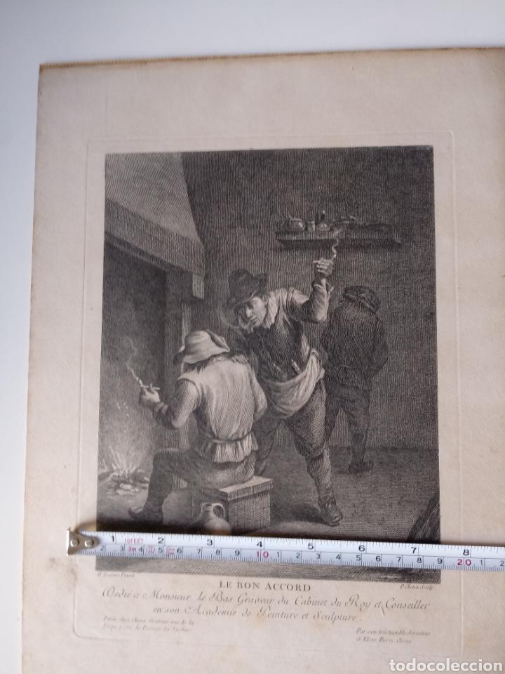 Arte: Antiguo grabado al aguafuerte. SXVIII (Adherido a un cartón) - Foto 7 - 181480952
