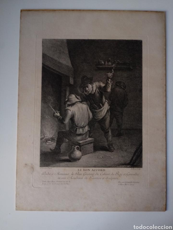 Arte: Antiguo grabado al aguafuerte. SXVIII (Adherido a un cartón) - Foto 2 - 181480952