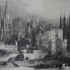 Arte: ANTIGUO GRABADO INGLES S. XIX: VISTA ENTRADA A BURGOS - DAVID ROBERTS – J. CARTER DIBUJADO POR DAVI. Lote 181625285