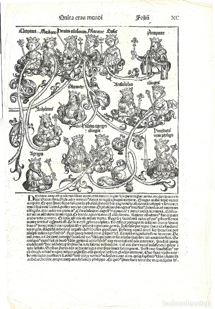 1493 GRABADO ORIGINAL INCUNABLE LIBER CHRONICARUM / CRÓNICAS DE NUREMBERG (SCHEDEL) (Arte - Grabados - Antiguos hasta el siglo XVIII)