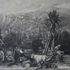 Arte: ANTIGUO GRABADO INGLES S. XIX: GRANADA VISTA DESDE LOS BANCOS DE XEUIL - DAVID ROBERTS – B. ALLEN DI. Lote 181625812