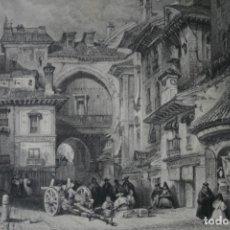 Arte: ANTIGUO GRABADO INGLES S. XIX: PUERTA MORUNA PASARELA A LA PLAZA LA RAMBLA GRANADA - DAVID ROBERTS. Lote 181626793