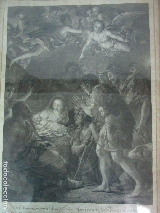 Arte: Grabado La Adoración de los Pastores - Rafael Mengs - Morghen Raffaello Grabador - Año 1791 - Foto 3 - 181774640