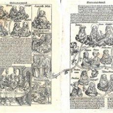 Arte: 1493 DOS GRABADOS HOJAS INCUNABLE LIBER CHRONICARUM NUREMBERG SCHEDEL. VIRGEN MARÍA. Lote 181877793