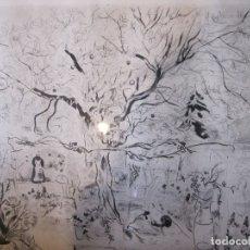 Arte: EMILIO GRAU SALA. PUNTA SECA. JARDIN. PRUEBA DE ARTISTA. FIRMADA Y FECHADA. 1950. IMAGEN 40X49,5 CM. Lote 182063635
