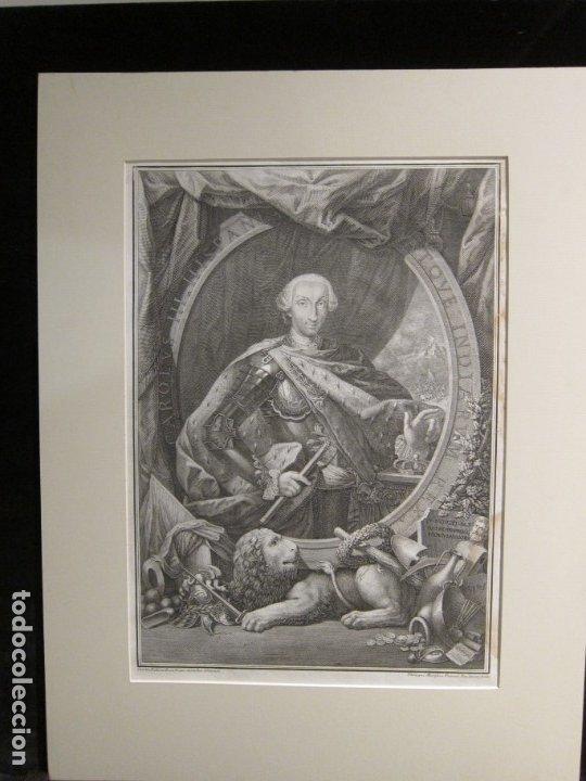 AGUAFUERTE, RETRATO DE CARLOS III - FILIPPO MORGHEN (Arte - Grabados - Antiguos hasta el siglo XVIII)