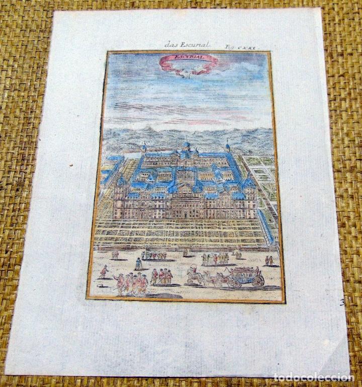 GRABADO ORIGINAL , MADRID EL ESCORIAL 1719, MANESSON MALLET, EXCELENTE ESTADO (Arte - Grabados - Antiguos hasta el siglo XVIII)