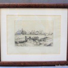Arte: PAU ROIG CISA (1879 - 1955), LA BARRIÈRE NOIRE (NORMANDIE),1928, GRABADO, FIRMADO, CON MARCO.. Lote 182267481