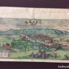 Arte: GRABADO ORIGINAL ILUMINADO DE BILBAO,SIGLO XVI-MEDIDA 53X40 CM. Lote 182382020