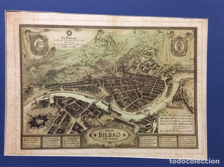 MAPA ANTIGUO DE LA RIA DE BILBAO-LA POLAR 1948-MEDIDAS 77X54CM (Arte - Grabados - Modernos siglo XIX)