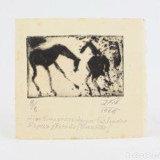 Arte: JOSÉ VILATÓ RUIZ, PSEUDÓNIMO J. FIN, GRABADO, 1968, CABALLOS, TIRAJE 8/8, CON DEDICATORIA. 11,5X11CM. Lote 182478265